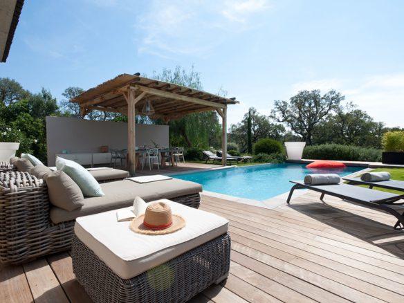 Location villa Le Patio Porto Vecchio Corse du sud proche plage St Cyprien et Cala Rossa 4 chambre villa moderne luxe piscine privée